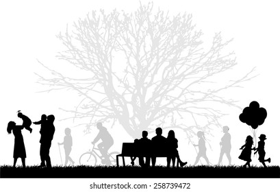 Silhouette of people on the outside