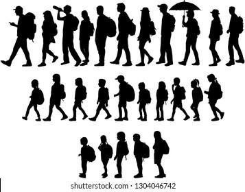 Silhouette Menschen auf einem Spaziergang.