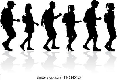 Silhouette people on a walk.