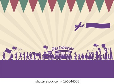 Silhouette of people parade, vector