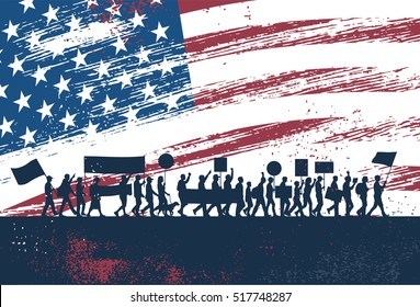Silhouette of people protesting with Flag of the United States