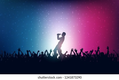 Silhouette of people raise hand up in concert with singer on stage and digital dot pattern on blue pink color background