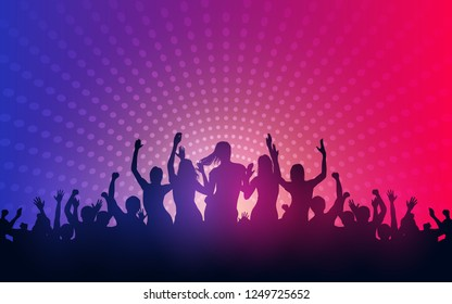 Silhouette of people raise hand up in concert with female dancing on stage and digital dot pattern on purple pink color background