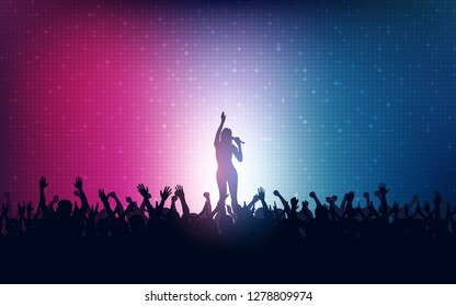 Silhouette of people raise hand up in concert with woman singer on stage and digital dot pattern on blue pink color background