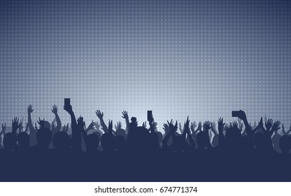 silhouette of people raise hand up in concert with smartphone and digital dot pattern on grey color background