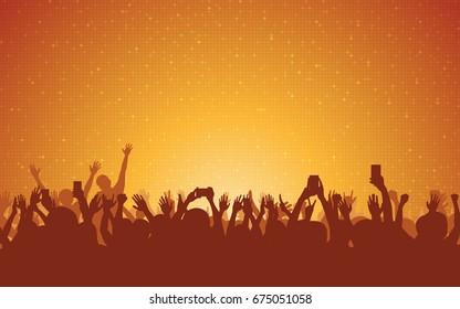 silhouette of people raise hand up in concert with smartphone and digital dot pattern on orange color background