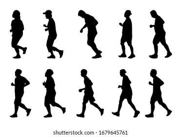 Silhouette people running on white background, Lifestyle man and women exercise vector set, isolate shape group girl and boy jogging, Shadow marathon human illustration