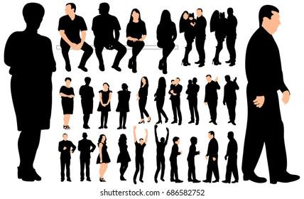 silhouette people, set