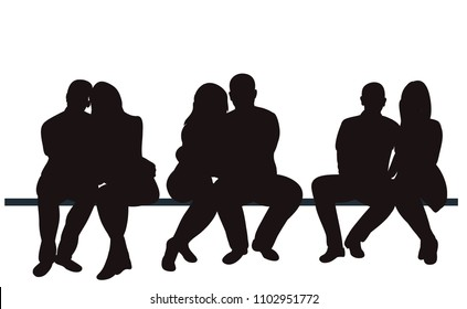 silhouette people sitting