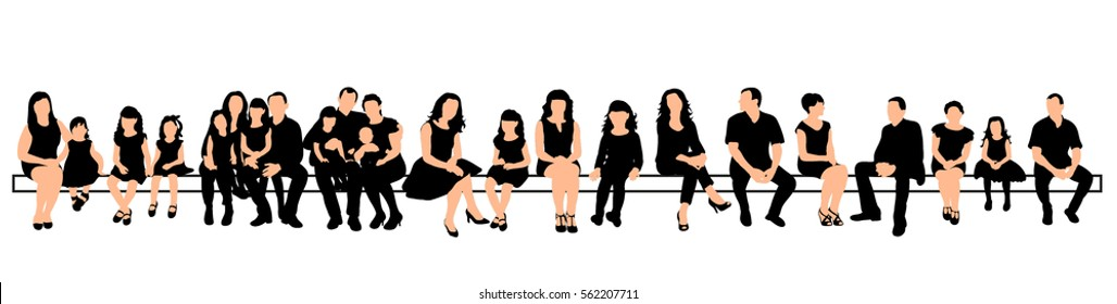 silhouette people sitting set, vector