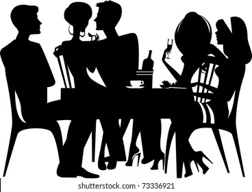 silhouette of people sitting at table