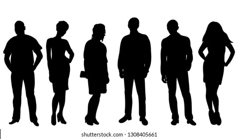 silhouette people stand isolated, vector