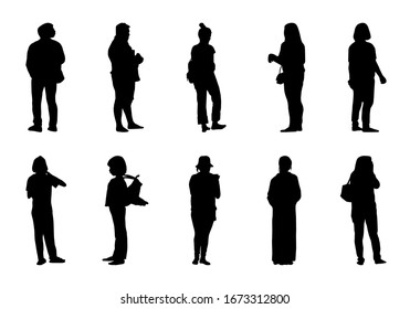 Silhouette people stand set, Black men and women vector on white background, Isolate girl shadow and different human illustration