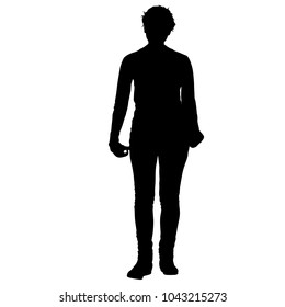 Silhouette of People Standing on White Background
