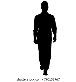 Silhouette of People Standing on White Background.