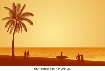 Silhouette people with surfboard on beach under sunset sky background in flat icon design