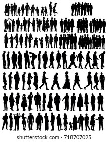 silhouette, people vector, collection