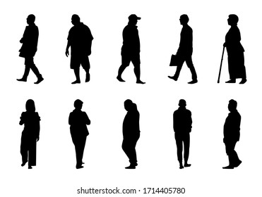 Silhouette people walking collection on white background, Black men and women vector set, Isolate different human illustration