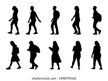 Silhouette people walking on white background, Lifestyle man and women vector set, isolate shape group girl and boy, Shadow different human illustration