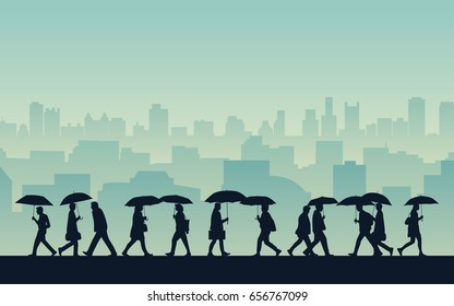 silhouette people walking in rain with umbrella on street and city skyline background