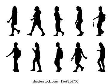 Silhouette people walking set on white background, Woman holding and playing phone, Shadow mens shoulder bag to travel
