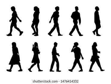 Silhouette people walking vector set, Black men and women on white background, Isolate group girl and boy