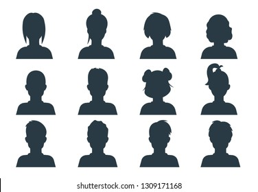 Silhouette person head. People profile avatars, human male and female anonymous faces. Vector user business portraits set