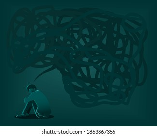 Silhouette of a person sitting on the floor stressed and overthinking, loneliness concept with dark thought bubble overhead. Man suffering from anxiety. Anxiety disorder concept vector Illustration.