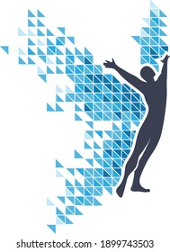 Silhouette of a person spreading his arms and wings in success motion