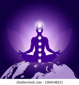Silhouette of Person in yoga lotus asana sitting on planet Earth on dark blue purple background with lotus flower, seven chakras and lighting