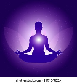 Silhouette of Person in yoga lotus asana on dark blue purple background with lotus flower and light