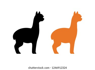 Silhouette of peruvian Alpaca in black and orange color isolated on white - Vector illustration of furry animal from South America.