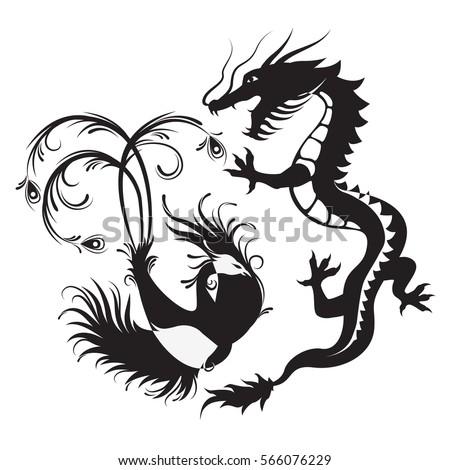 Silhouette Phoenix Bird Dragon Symbol Balance Stockvector