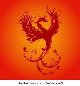 Silhouette of phoenix bird. Red fenix. Symbol of immortality. Fiery bird.