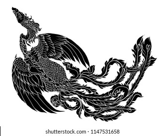 Silhouette Phoenix fire bird vector and illustration design for tattoo. Chinese Peacock isolated on white background.