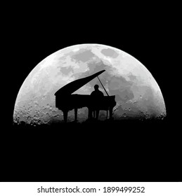 silhouette of a pianist on the background of a glowing moon