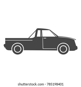 Silhouette of pick up truck car - simple icon on white background