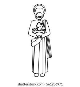 silhouette picture saint joseph with baby jesus