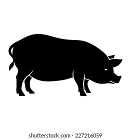 Silhouette of pig isolated on white background