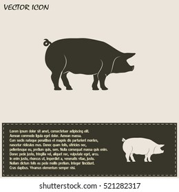 Silhouette of pig Vector illustration