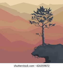 silhouette of pine trees on a cliff