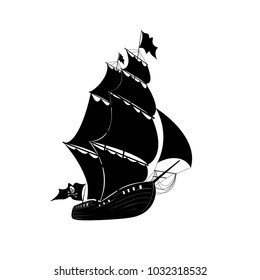 silhouette of a pirate ship on a white background