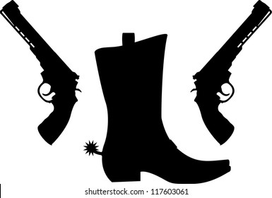 silhouette of pistols and boot with spurs. vector illustration