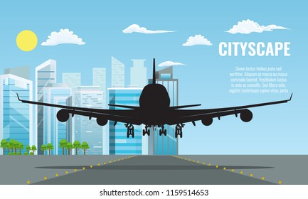 Silhouette of Plane landing or taking off over modern cityscape. Flat and solid color travel concept background vector.