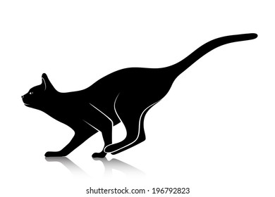 silhouette of a playing cat