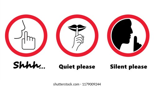 Silhouette please be quiet silent silence with finger lips Face emoticon smiley no sound off flat icon vector Beware sssh shhh whisper mouth hand no talking forbidden human stop funny zzz Caution