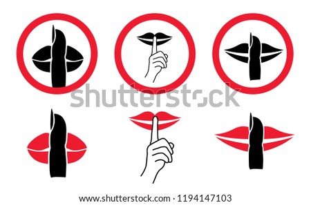silhouette please be quiet silent silence stock vector royalty free