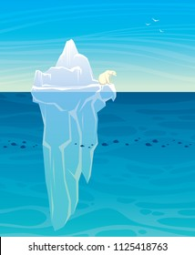 Silhouette of polar bear, big iceberg and calm ocean on a blue sea background. Vector nature illustration. Landscape with arctic animal.