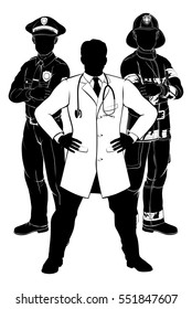 Silhouette police man, fireman and doctor emergency rescue services worker team silhouettes