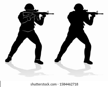 silhouette of a policeman or soldier with a gun, black and white drawing, white background